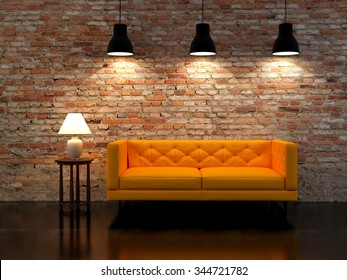 3D rendering modern interior with lamps fnd sofa