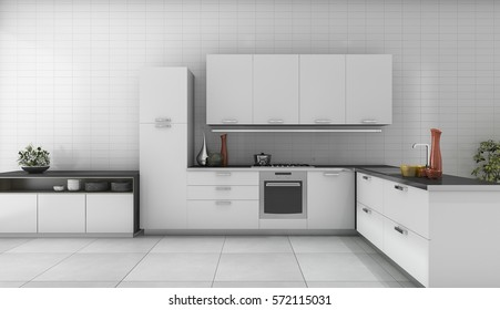 3d rendering modern kitchen with good design counter