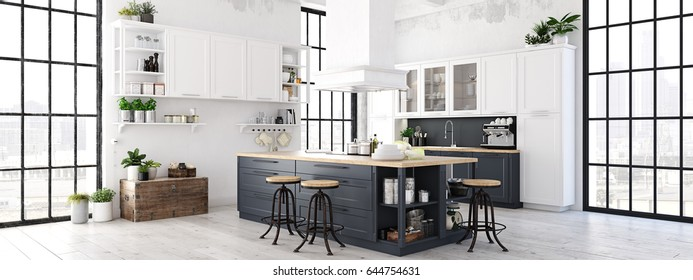 3D rendering of modern kitchen in a loft. wide view