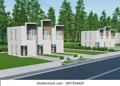 3d rendering of modern light townhouse cozy small house for sale or rent with many grass on lawn. In daylight with a clear blue sky. Perspective street view