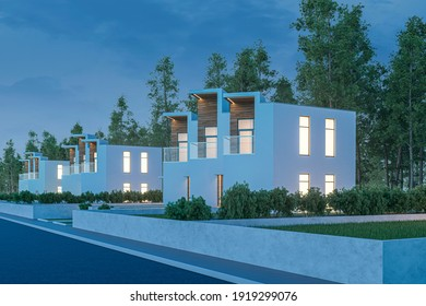 3d rendering of modern light townhouse cozy small house for sale or rent with many grass on lawn. In evening with a dark blue sky. Perspective street view