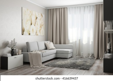 3D rendering of modern living room in light tones with a sofa,a painting, flowers and accessories