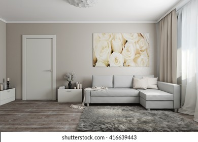 3D rendering of modern living room in light tones with a sofa, a door,a painting, flowers and accessories