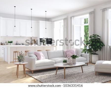 3 D Rendering Modern Living Room Townhouse Stock Illustration ...