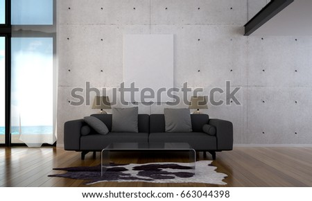 D rendering modern loft beach lounge stockillustration