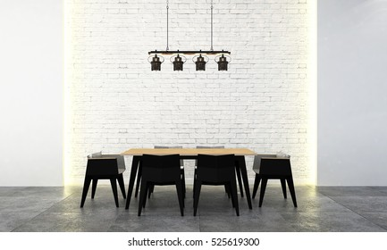3D rendering of modern loft dining room design