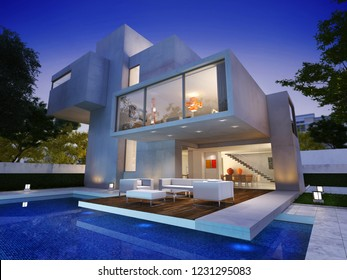 3D rendering of a modern luxurious house with swimming pool