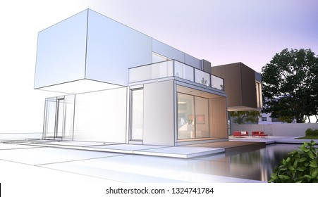 3D rendering of a modern luxurious house project overview