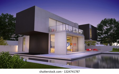 3D rendering of a modern luxurious house with pool
