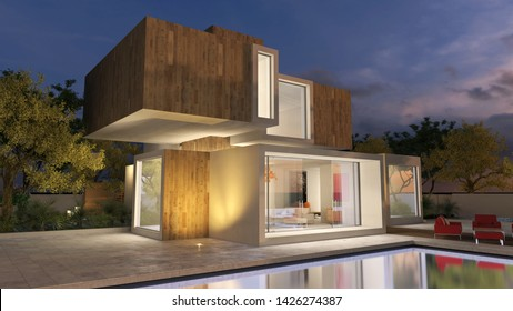 3D rendering of a modern luxurious house in  wood and stone with pool