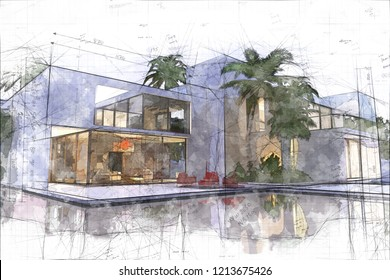 3D rendering of a modern luxurious villa with swimming  pool