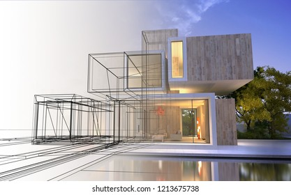 3D rendering of a modern luxurious villa with a draft like part and a finished realistic one.