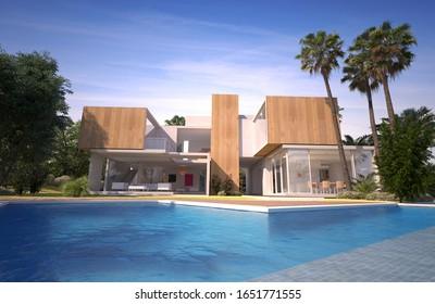 3D-Darstellung einer modernen luxuriösen Villa mit Pool in einem tropischen Garten.