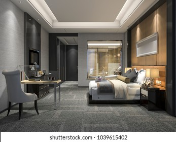 3d rendering modern luxury bedroom suite and bathroom