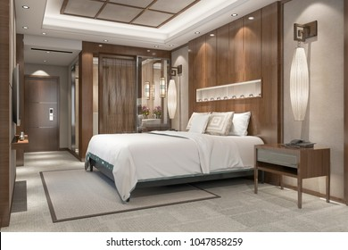 3d rendering modern luxury bedroom suite in resort with bathroom