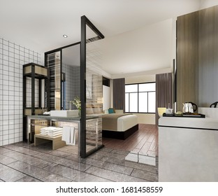 3d rendering modern luxury bedroom suite and bathroom