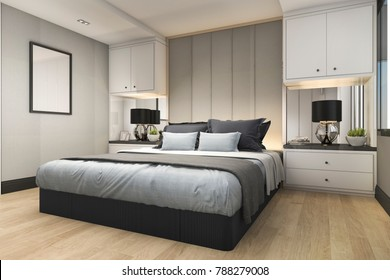 Charmant 3d Rendering Modern Luxury Blue Bedroom With Marble Decor