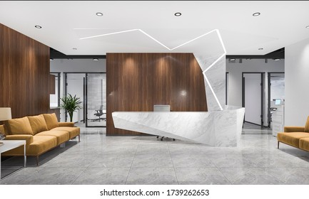 3d rendering modern luxury hotel and office reception and lounge with meeting chair and yellow sofa