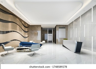 3d rendering modern luxury hotel and office reception and lounge with blue sofa near lift corridor
