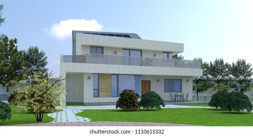 [3D Rendering] Modern luxury house with solar panels. Made with Sketchup and rendered