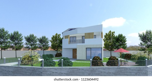 [3D Rendering] Modern luxury housing design with solar panel. Created with Sketchup and rendered with V-Ray. Modern architectural real design.