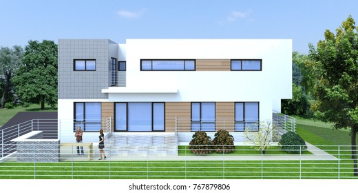 [3D rendering] Modern luxury housing design. Created with Sketchup and rendered with V-Ray. Modern architectural real design.
