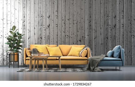 3D rendering of the modern luxury living room design and wood wall texture background