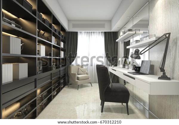 3d rendering modern luxury working room