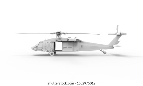 3d rendering of a modern millitary helicopter isolated in white background