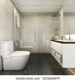3d rendering modern minimal toilet and shower