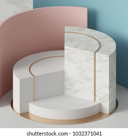 3d rendering, modern mock up, abstract geometric background, blank template, minimalistic empty showcase, primitive shapes, art deco shop display, pastel colors