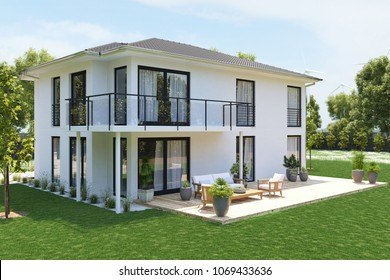 3D rendering. modern new house with large property.