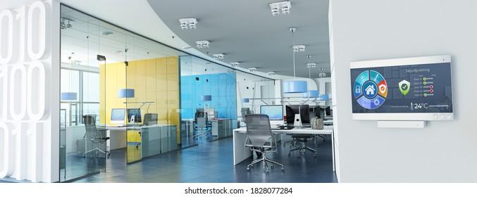 3D-Darstellung moderner Büros mit einer Kontrolltafel, die Licht, Temperatur, Luftqualität, Zugang und Sicherheit steuert
