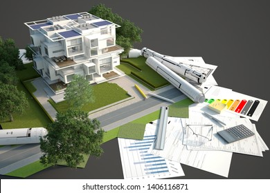 3D rendering of a modern original building block mock up with garden, on top of blueprints and documents