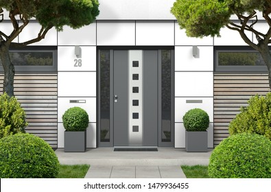 3D rendering of modern real estate bungalow home facade with designer front door, yard and pine trees