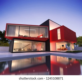 3D rendering of a  modern red and black house