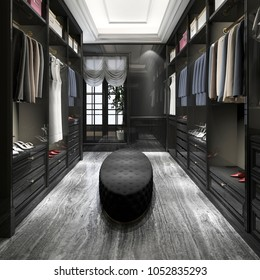 3d rendering modern scandinavian black wood walk in closet with wardrobe