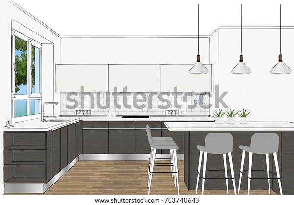 Incredible 3D Rendering Modern Scandinavian Kitchen Furniture Stock Short Links Chair Design For Home Short Linksinfo
