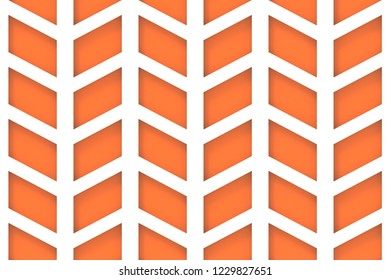 3d rendering. modern seamless orange trapezoid geometric pattern wall and floor background.