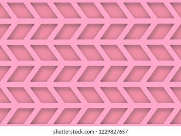 3d rendering. modern seamless pink trapezoid geometric pattern wall background.