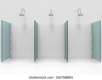 3d rendering. modern Shower room separate by blue mirror glass barrier.