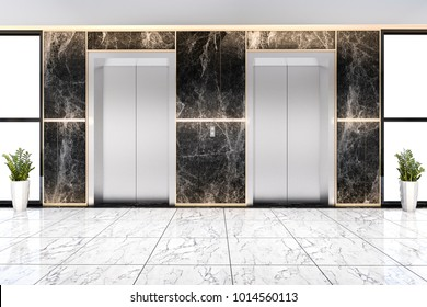 3d rendering modern steel elevator lift lobby in business hotel with luxury design