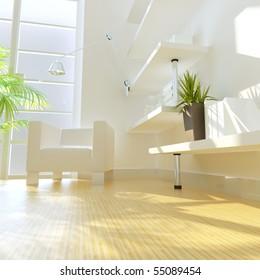 3D rendering of modern study room.
