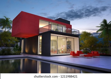 3D rendering of a modern villa in black and red with a pool