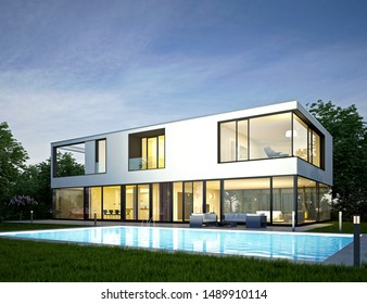 3d rendering of a modern villa in the evening