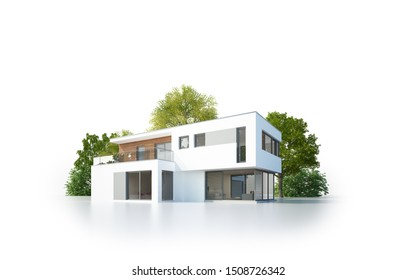 3d rendering of a modern villa isolated