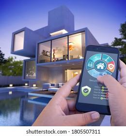 3D-Darstellung einer modernen Villa mit Pool von einem Smartphone von außen gesteuert von der