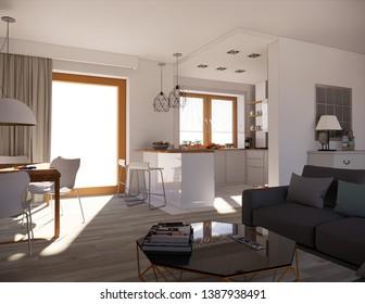3d rendering modern welcoming moody zen interior