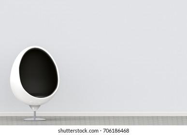 3d rendering. modern white egg chair on the white interior room.