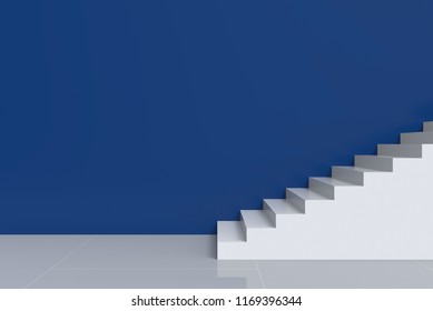 3d rendering. modern white stairs with blue cement copy space wall background.